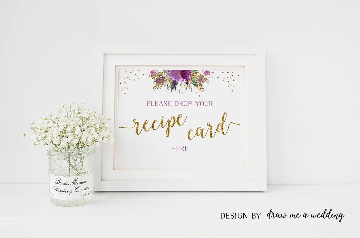 recipe cards sign recipe sign floral purple shower recipe box sign printable