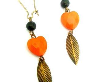 Bronze earrings orange heart. Leaf pendant.