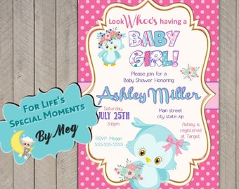 Owl Baby Shower Invitation - Printable file - It's a Girl Baby Shower Invite