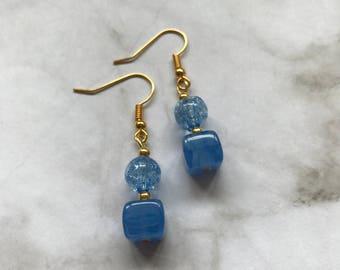 Beautiful blue glass drop earrings.