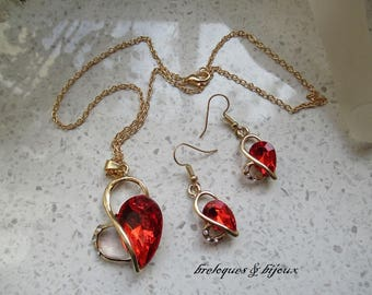 NECKLACE / ornament set red cubic zirconia pendants gold jewelry dangle EARRINGS