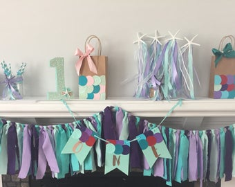 Custom Birthday banner,  Letter banner, party banner, One year old birthday,  Mermaid party banner, Under the Sea party banner