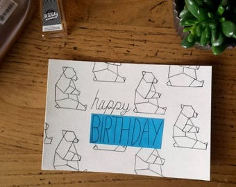 happy birthday made polar bear motif hand