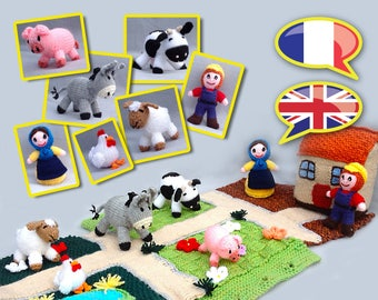 KNITTING tutorial/pattern: Carpet bag closes / farm, farmer and his wife, animals, storage bag and the play mat