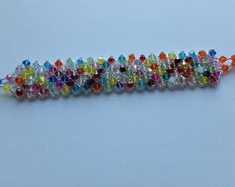 Summer multicolored and clear Swarovski Crystal Cuff Bracelet