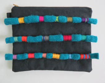 Woolly Pouch - Black / Teal