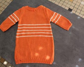 long sleeves, orange and ecru dress 18 months