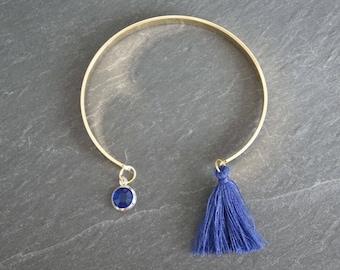 Gold Bangle - tassel bracelet dark blue