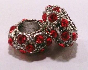 Rhinestone charm silver Red's (56 d) European bead