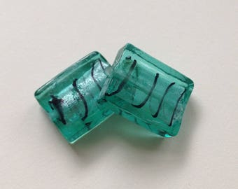 SET of 2 LAMPWORK MURANO LAMPWORK RECTANGLE 20mm clear glass spacer beads / green silver 20 mm/f6