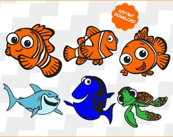 Finding Nemo Svg, finding nemo Clipart, finding nemo vector, finding nemo cutting file, finding nemo Dxf, Eps, Pdf