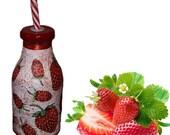 Strawberry frapuccino bottle lemonade juice gift idea for birthday  handmade decoupage surprise free ship red fruit modern kitchen decor