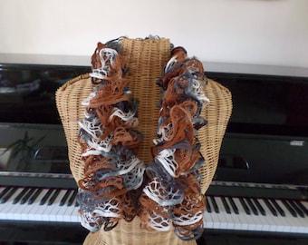 Brown, white, Ecru acrylic scarf
