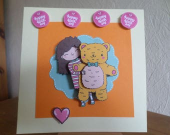 birthday card for little girl with Teddy bear