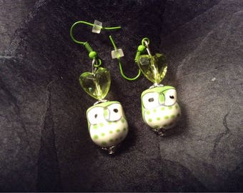 Green owls and hearts earrings