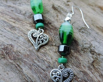 Heart Earrings in Tibetan silver, hematite and green glass bead. Sterling Silver bail.