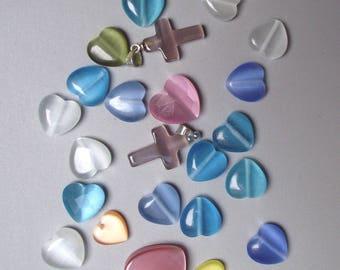 20 12 mm cat's eye glass beads.