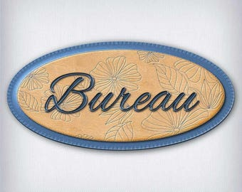 Leather and denim 053 office door sign decal