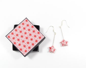 Origami earrings red washi paper in 925 sterling silver stars