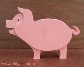 Piggy bank pig wood handpainted solid beech