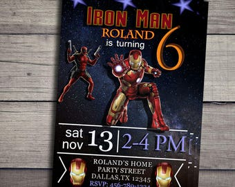 Ironman Invitation, Ironman Birthday, Ironman Party, Ironman Personalize, Ironman Chalkboard, Ironman Birthday Invitation, Ironman invites