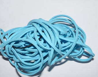 Light turquoise aqua Blue Suede cord Ribbon sold by the meter