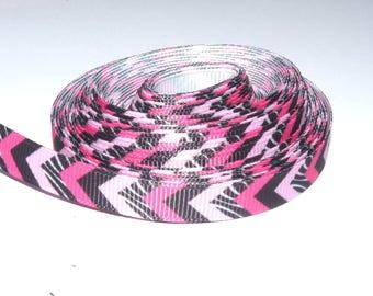 Pink Ribbon 10mm fuschia/pink light/white Chevron sold by the yard