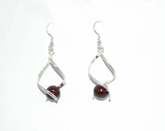 Earrings drops and chocolate pearls