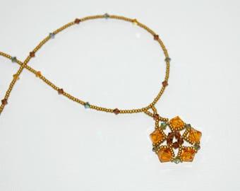 Necklace Medallion gold Swarovski Crystal beads