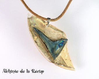 Eco-friendly blue and gold Heart Necklace, recycled CDs and DVDs