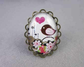 Bird and flowers ring