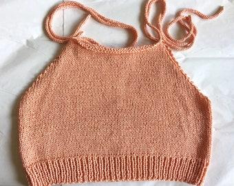Hand knit peach Tencel cropped women's shoulder tie spring summer camisole tank top