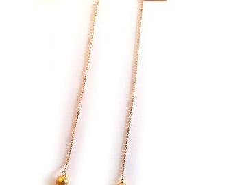 Dangle chain earrings gold 375/1000 (9 k)