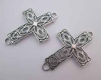2 connecteur croix ajourée 42 x 28 mm en métal argenté