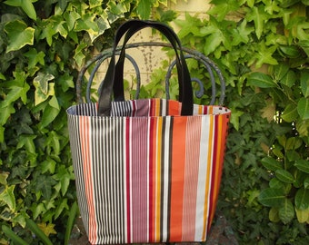 Brown and orange striped oilcloth tote bag