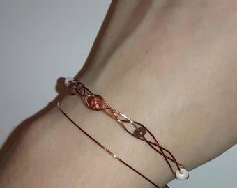 coper braided beaded bracelet