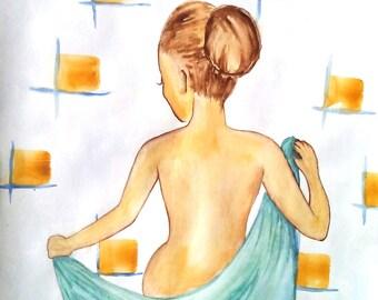 Lady In The Bathroom - Print