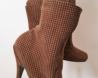 Sexy Brown Matt Leather with black check pattern Round Toe High Heeled Ankle Boots with inside zip UK 8 EU 41