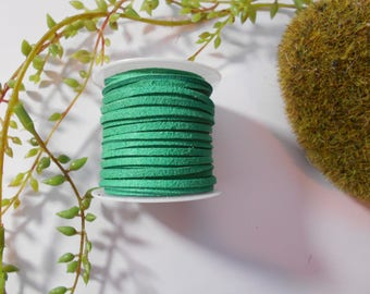 Green suede - thread - 1 m of suede cord
