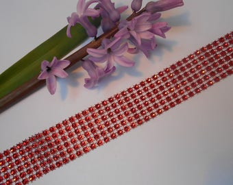 Ribbon effect red rhinestones 50cm / 3cm