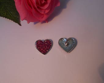 Heart snap for jewelry - fuchsia sparkly rhinestones