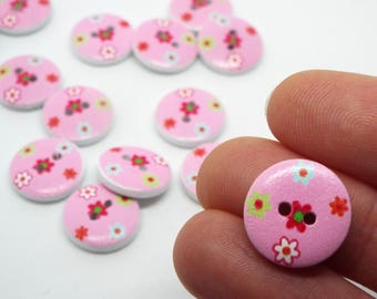 8x Pink ditsy floral button 15mm wooden