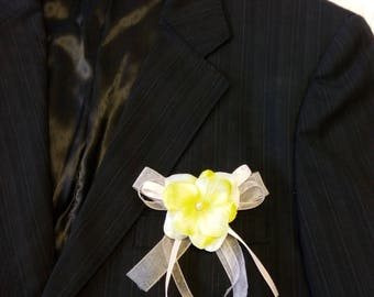 Lime Green Ribbon pink flower wedding boutonniere