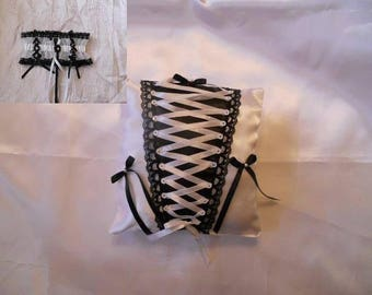 corset black and white pillow