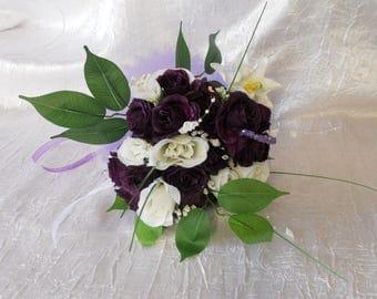 purple color Bridesmaids Bouquet / white