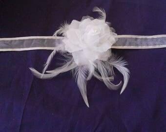 "White flower ""wedding procession"" Ribbon necklace"
