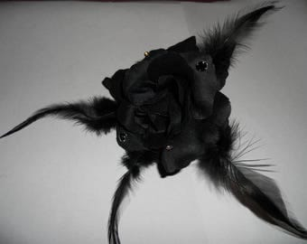 Black satin flower and feather hair clip