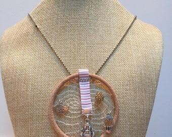 Beige Dreamcatcher Buddha necklace