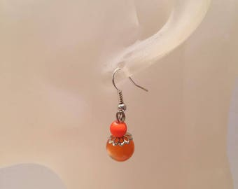 Orange and neon Pearl drop earrings