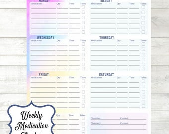 Weekly Medication Tracker | Medication Planner Insert | Instant Download Medicine Chart |  Watercolor Planner | Weekly Medication Log